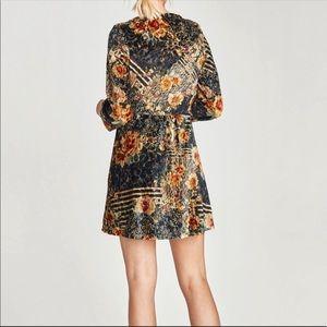NWT Zara fall floral velvet mini dress